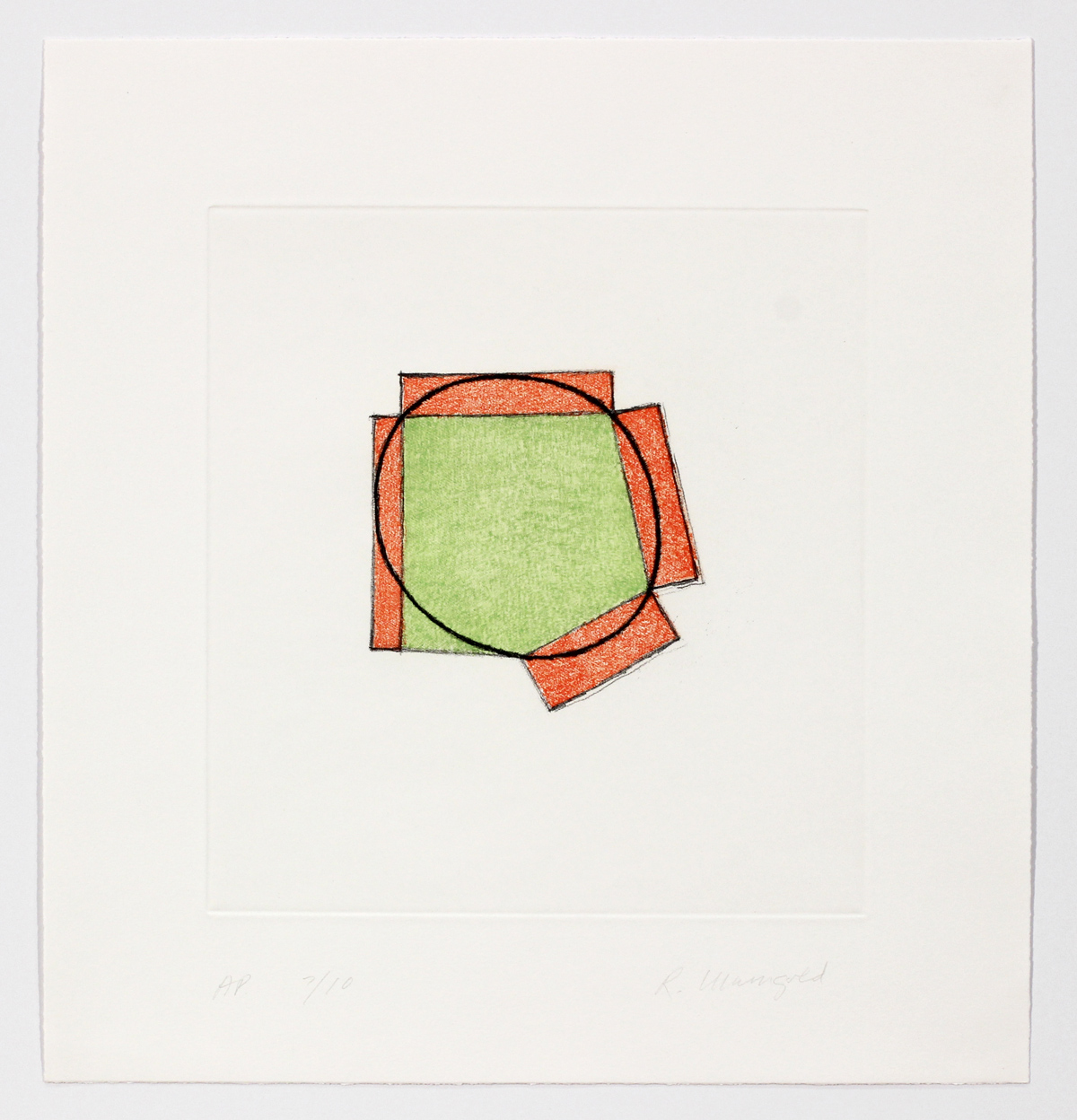 Untitled (Green Ellipse / Orange Broken Frame) | Robert Mangold