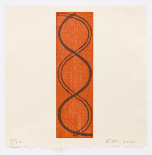 Robert Mangold, Holiday Column Woodcut, 2002