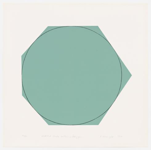 Robert Mangold, Distorted Circle Within A Polygon (Green), 1973