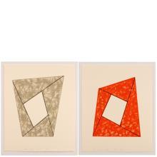 Robert Mangold, Grey Frame / Orange Frame, 1988