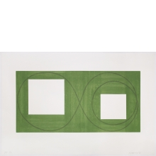 Robert Mangold, Two Open Squares Within a Green Area, 2017