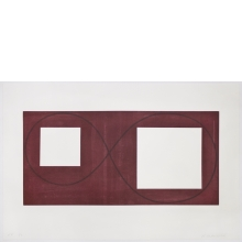 Robert Mangold, Two Open Squares Within a Red Area, 2017